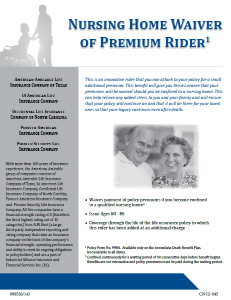 Nursing-Home-Waiver-Of-Premium-brochure-for-the-Tribute